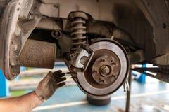 Repair of brake system on car wheels.  stock image