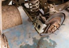 Repair of brake system on car wheels.  royalty free stock image