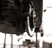 Repair of brake system on car wheels.  stock photography