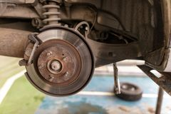 Repair of brake system on car wheels.  stock photos