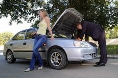 Repair of the broken car Royalty Free Stock Image