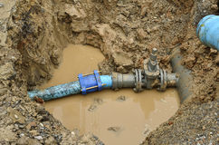 Repair the broken pipe. For domestic water supply Stock Images