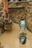 Repair the broken pipe. For domestic water supply Stock Photo