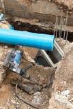 Repair the broken pipe in underground Royalty Free Stock Photos