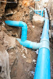 Repair the broken pipe in underground Stock Photography