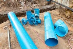 Repair the broken pipe in underground Stock Images