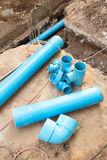 Repair the broken pipe in underground Stock Photo