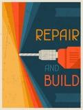 Repair and  build. Retro poster in flat design Royalty Free Stock Images