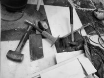 Repair building with tools and hammer, chisel, cleaver, brush, dustpan and tape measure stock photos