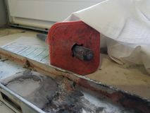 Repair - building with tools and hammer, chisel, building level. With old tiles stock images