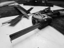 Repair - building with tools, tape measure, metal scissors, file, metal knife, pencil, knife, ruler stock photography