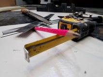 Repair - building with tools, tape measure, metal scissors, file, metal knife, pencil, knife, ruler royalty free stock photos