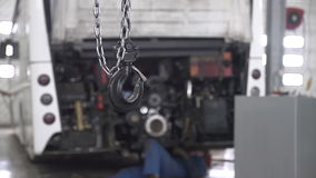 Repair of bus engine stock video footage