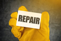 Repair on Business Card Royalty Free Stock Images