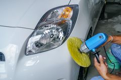 Repair Car ,Polished white car stock photography