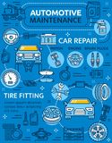 Car repair service poster with vehicle and parts. Repair car service poster with vehicle and auto parts, piston and engine with spark plugs. Automotive stock illustration