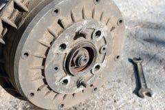 Repair of the car suspension. Replacing drum brake royalty free stock photo
