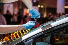 Repair car windshield Royalty Free Stock Photo
