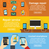 Repair cellphone banner horizontal set, flat style Stock Images