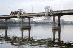 Repair of the central bridge. In the city of Dnepr stock photography