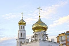 Repair of church, golden domes. Russia stock images