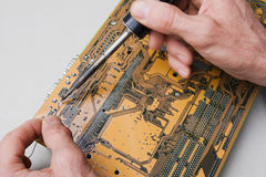 Repair of circuit board Royalty Free Stock Photography