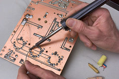 Repair of circuit board Royalty Free Stock Photo