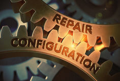 Repair Configuration Concept. Golden Gears. 3D Illustration. Stock Photo