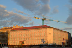 Repair and construction of buildings on Quay of the river Moika, Royalty Free Stock Image