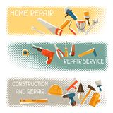 Repair and construction horizontal banners with Stock Images