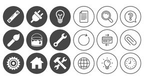 Repair, construction icons. Hammer, wrench tool. Royalty Free Stock Images
