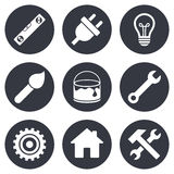 Repair, construction icons. Hammer, wrench tool Stock Photography