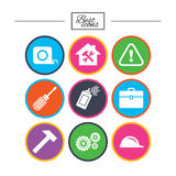 Repair, construction icons. Helmet, screwdriver. Royalty Free Stock Photography