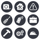 Repair, construction icons. Helmet, screwdriver Stock Photos