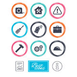 Repair, construction icons. Helmet, screwdriver. Repair, construction icons. Helmet, screwdriver and hammer signs. Gears, painting spray and attention symbols Stock Photos