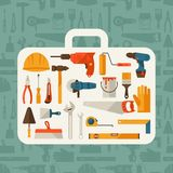 Repair and construction illustration with working Royalty Free Stock Photo