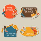 Repair and construction stickers set with working Stock Photos