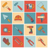 Repair construction tools flat line Royalty Free Stock Photo