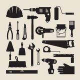 Repair and construction working tools icon set Royalty Free Stock Image