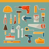 Repair and construction working tools sticker icon Stock Images