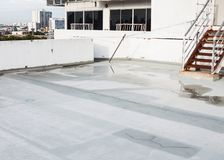 Repair cracked floor and water on concrete. Before waterproof cement treatment system Stock Photos