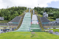 Repair crews are preparing for summer ski jumping competition on June 27, 2016 in Lillehammer, Norway Royalty Free Stock Photography