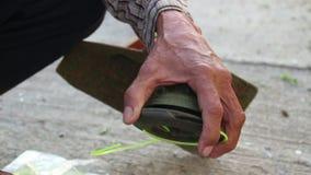 Repair cutter of Trimming Grass. Close up repair cutter of Trimming Grass stock footage