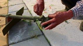Repair cutter of Trimming Grass. Close up repair cutter of Trimming Grass stock video