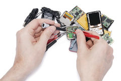 Repair  of the digital media players Stock Images