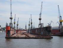 Hamburg, Germany. Elbe. Repair dock for ships. Floating dock for ships in Hamburg royalty free stock photo