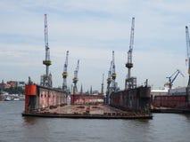 Hamburg, Germany. Elbe. Repair dock for ships. Floating dock for ships in Hamburg royalty free stock images