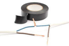 Repair of electrical cable using insulating tape.  on white Royalty Free Stock Photos