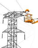 Repair of electrical wires. Royalty Free Stock Photography
