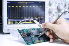 Repair electronics. Repair and Measurement of Electronic Circuits with Oscilloscopes Stock Images